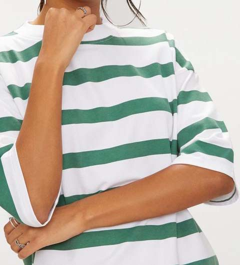 Emerald Green Striped Oversized Boyfriend T-shirt Dress
